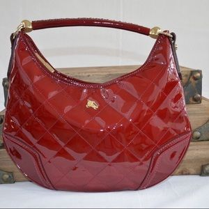 Burberry Red Patent Leather Hobo
